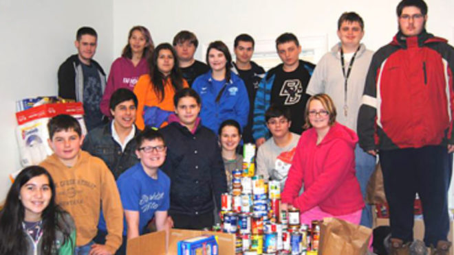 Students help Open Cupboard Food Pantry in Wilton